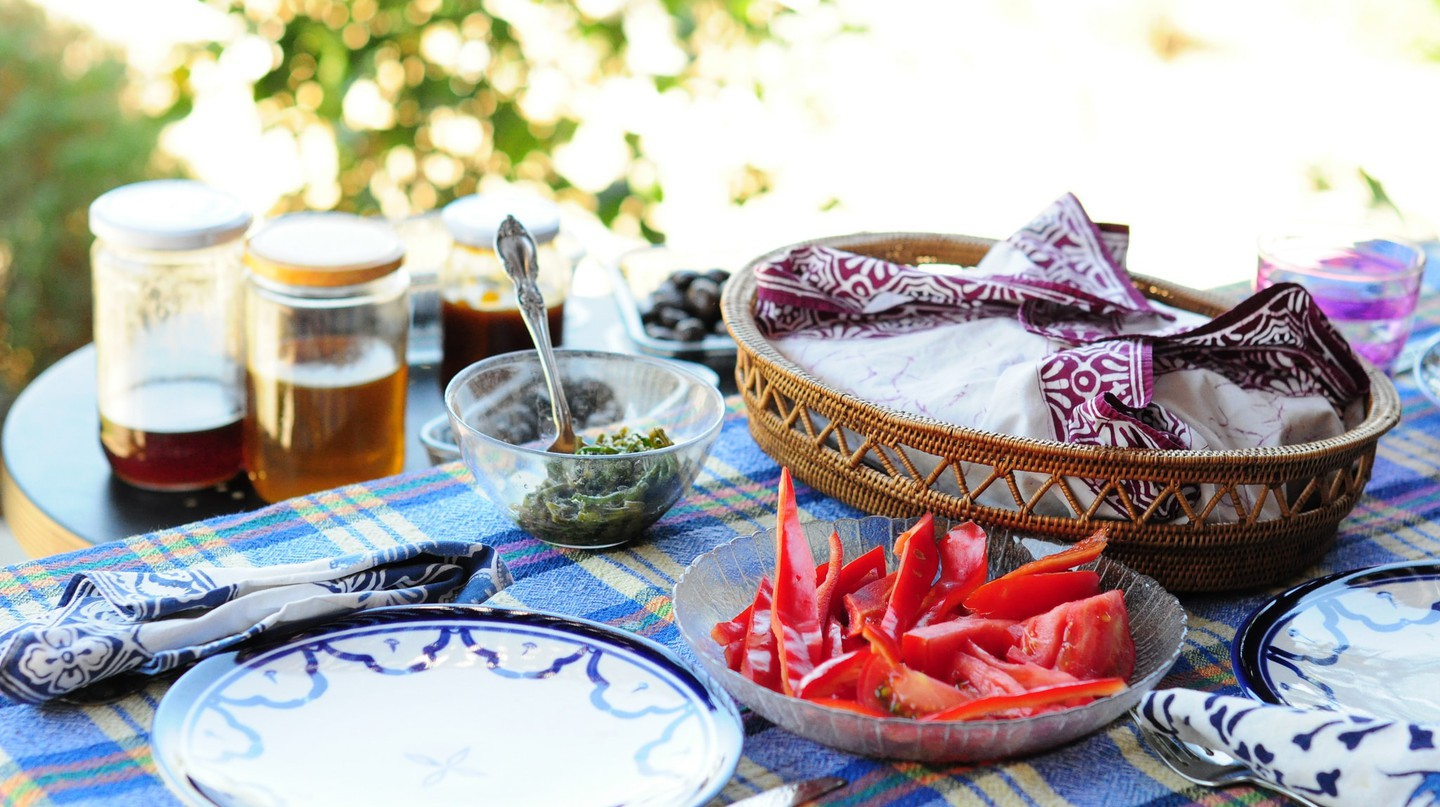 A simple Turkish breakfast spread in the summer sun