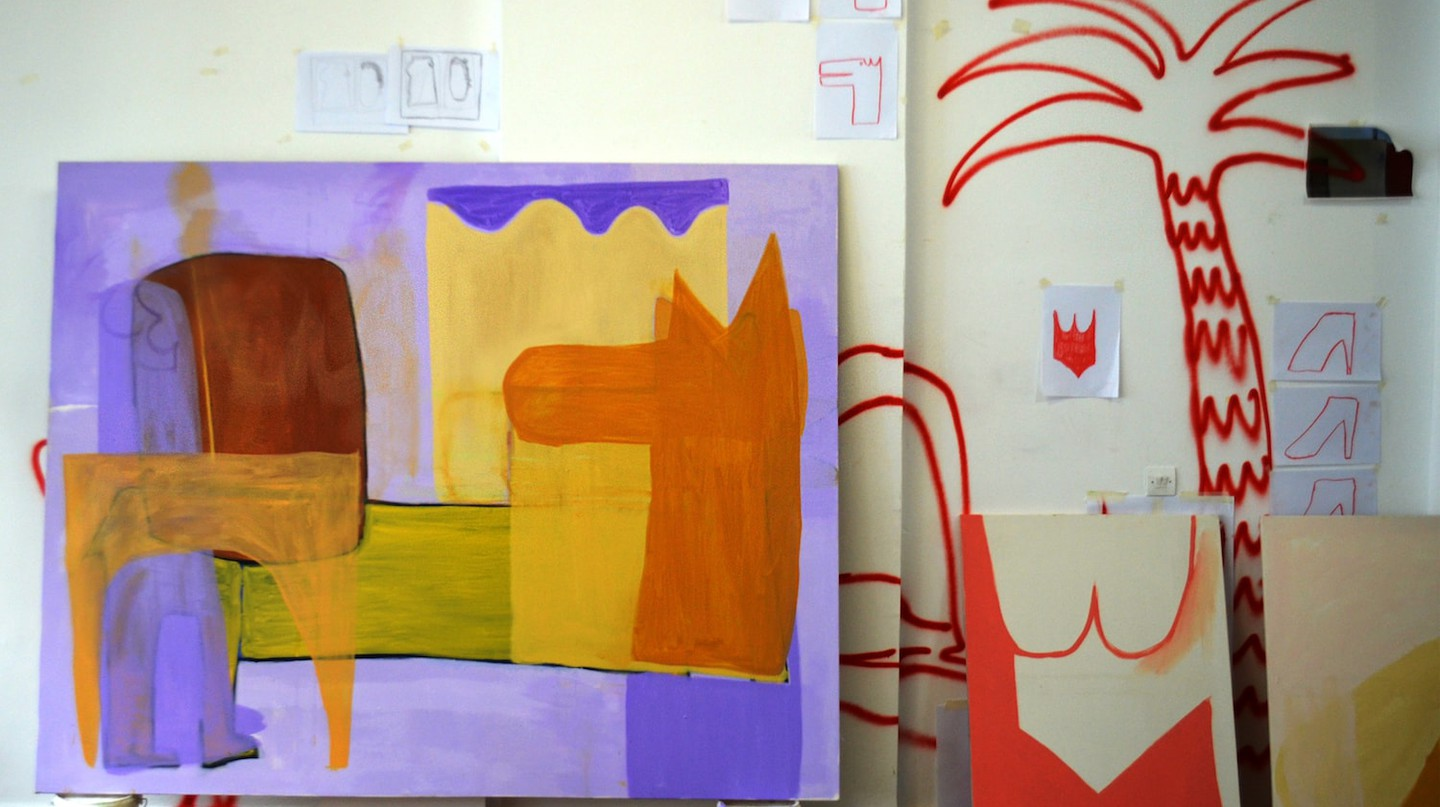 Work by Aristeidis Lappas, in his studio