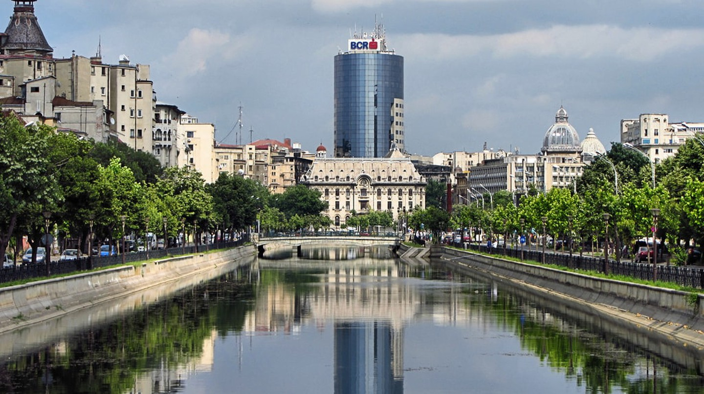 View of central Bucharest over the River Dâmbovița