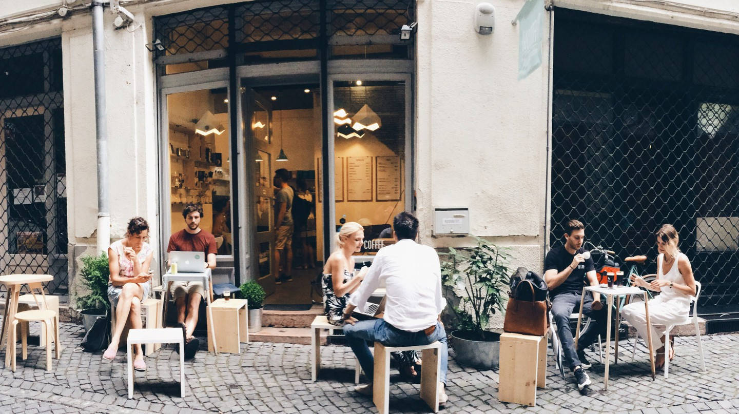 A quiet walking street outside Kontakt, Budapest | Courtesy of Kontakt Speciality Coffee
