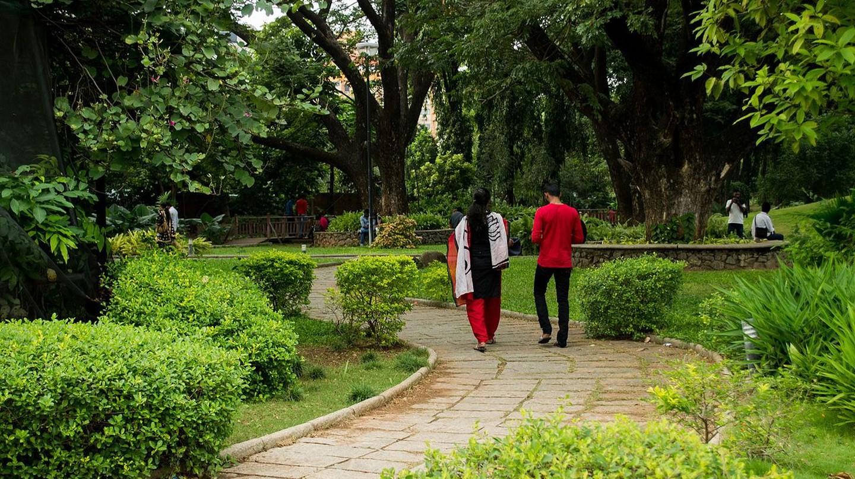 A walking trail inside Semmozhi Poonga, one of Chennai's largest parks