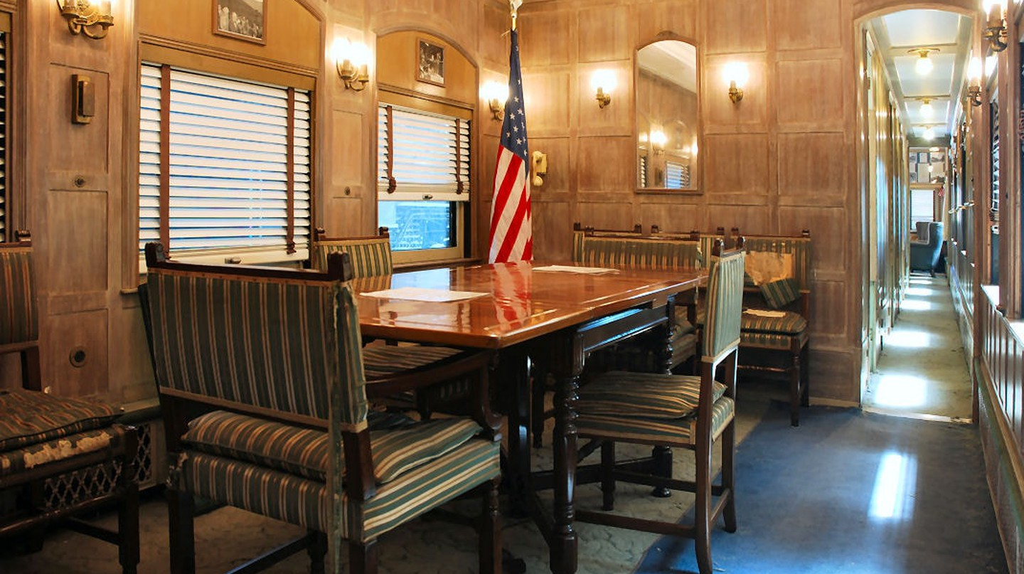 Dining room inside the Ferdinand Magellan railcar