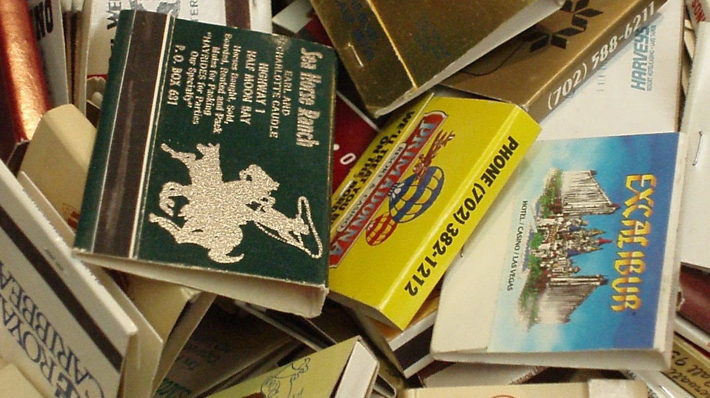 Vintage matchbooks at Main Street Peddlers in Las Vegas