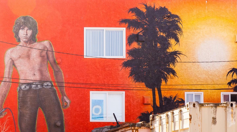 Mural of Jim Morrison in Venice Beach, CA.