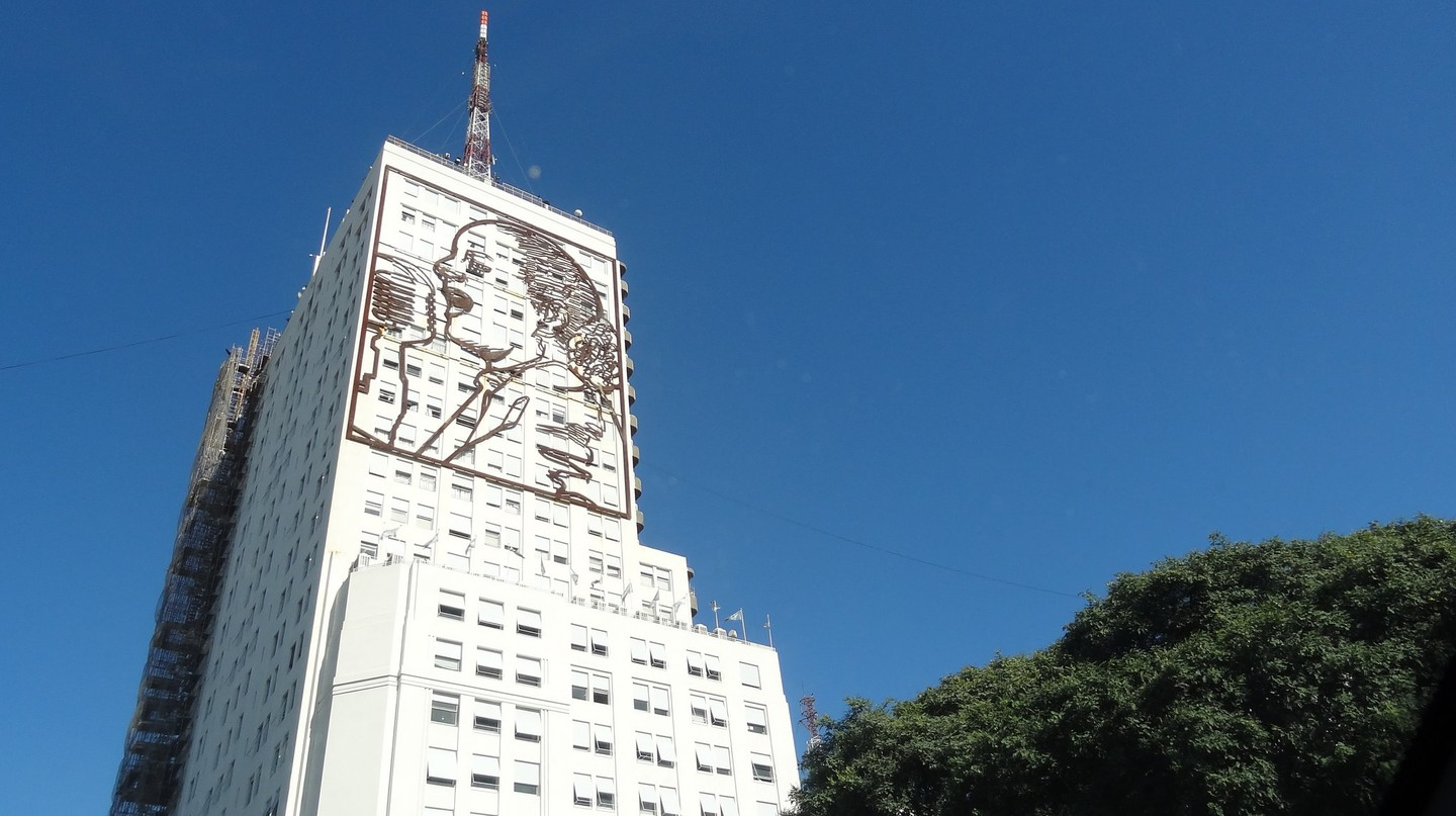 Eva Peron on the 9 de Julio Avenue in Buenos Aires