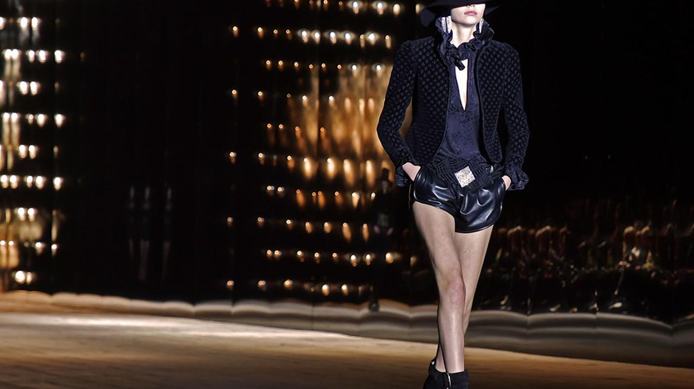 A model wears Saint Laurent on the catwalk, autumn/winter 2018, Paris Fashion Week