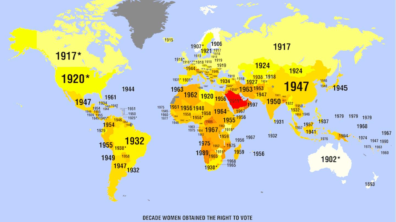Women's suffrage map |© Cuba Holidays