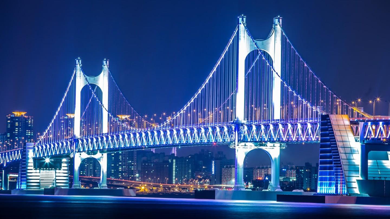 Gwangan Bridge lit up at night in Busan, South Korea
