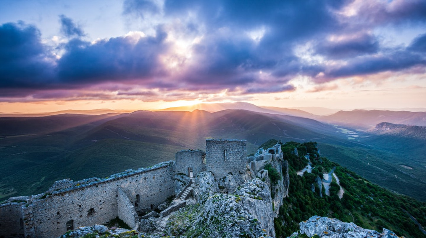 Peyrepertuse castle at sunrise in the Languedoc