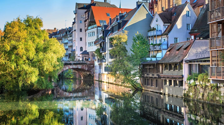 The Pegnitz riverside in Nuremberg, Germany