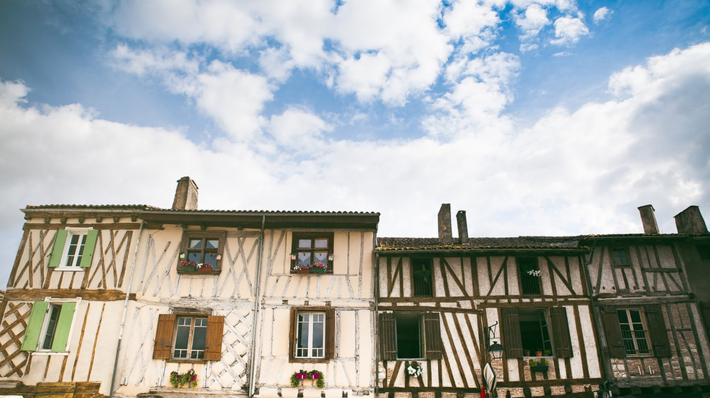 Medieval French timber architecture in Eymet, France, Aquitaine