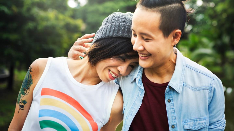 LGBT Asian lesbian couple |