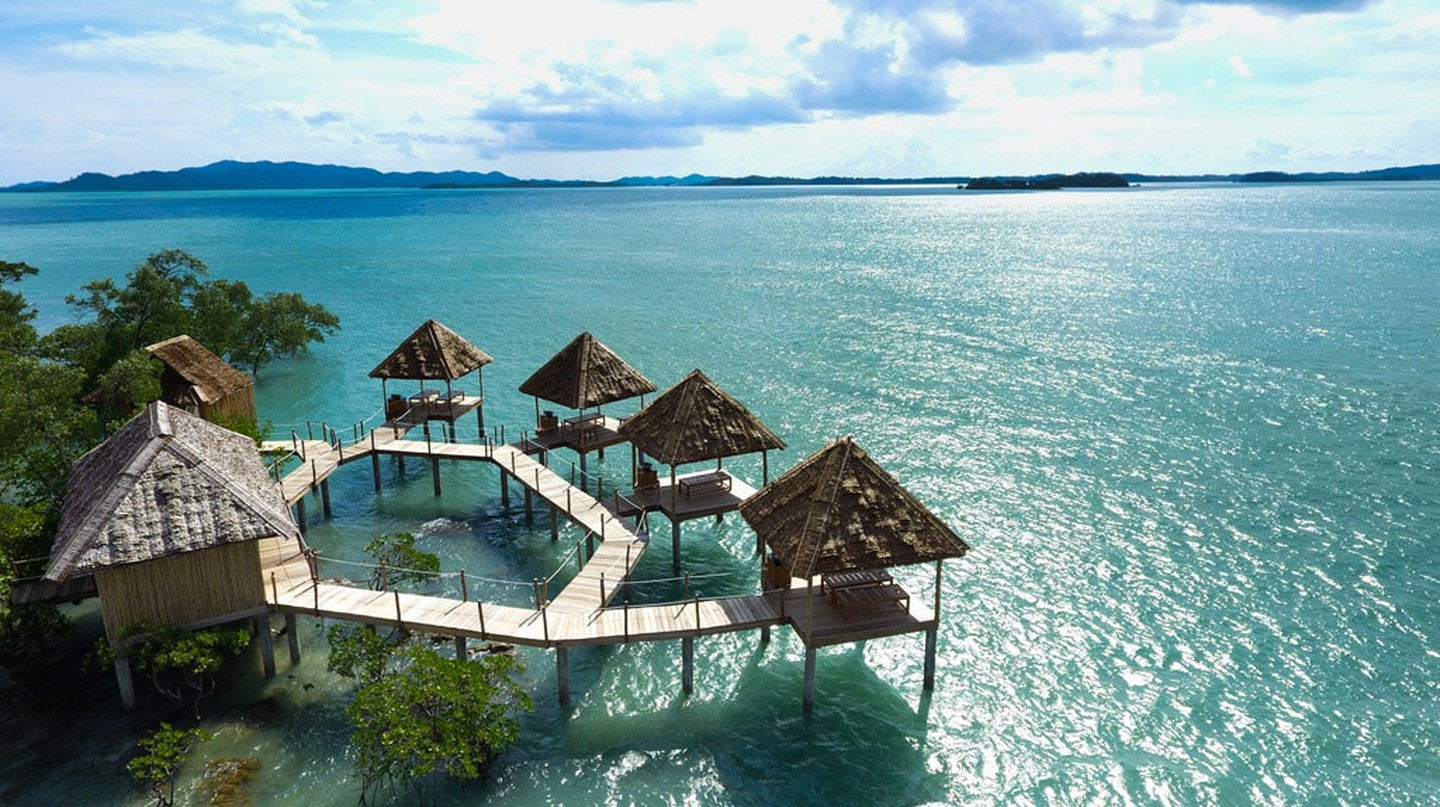 Telunas Private Island over-water spa from above