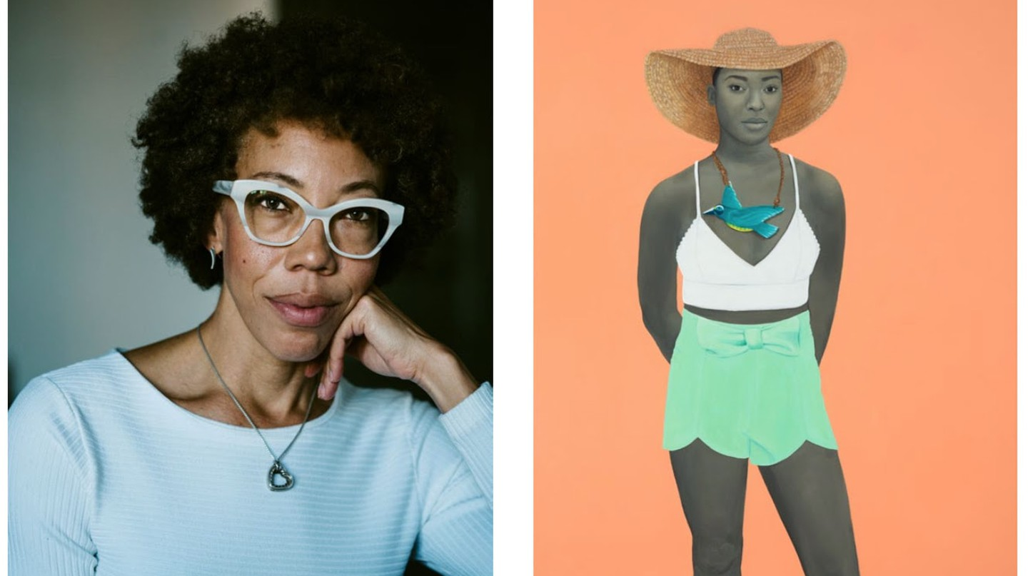 Left, Portrait of Amy Sherald. Courtesy the artist and Justin T. Gellerson. Right, 'All the unforgotten bliss (The early bird)' 2017. © Amy Sherald / Courtesy the artist and Hauser & Wirth.