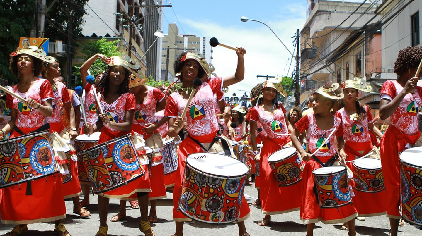 Banda Dida perform live in the streets of Bahia in Brazil