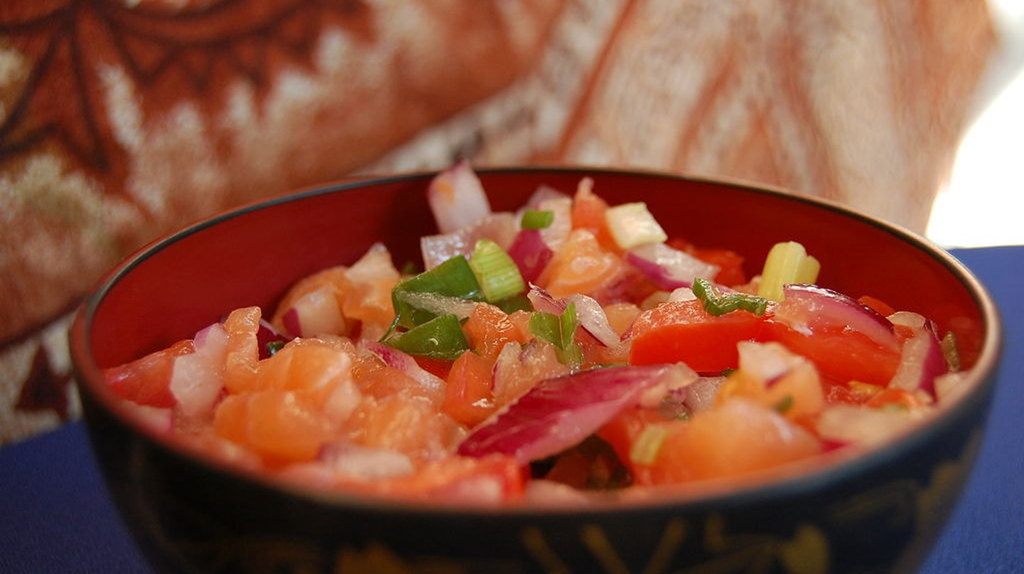 Lomi-lomi salmon is a mouthwatering side dish