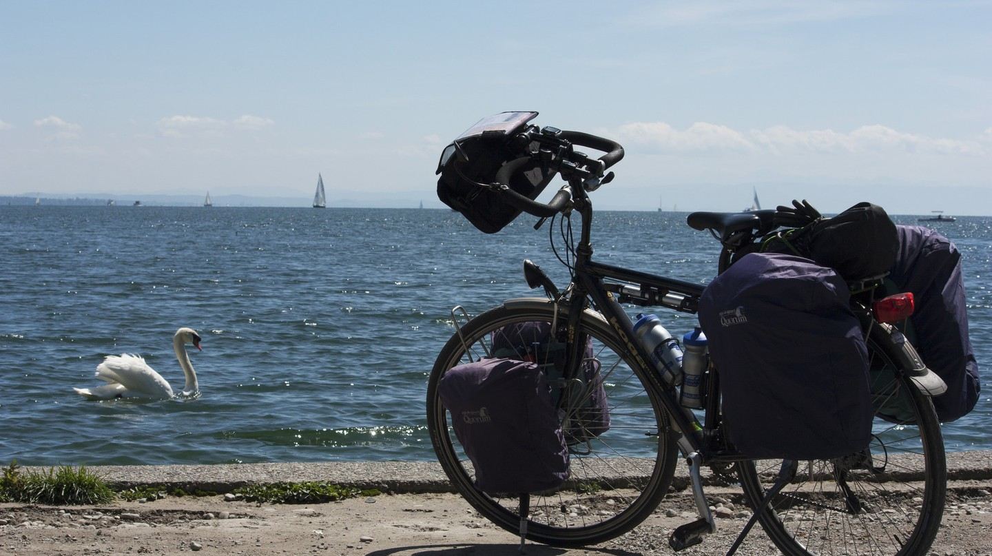 A well-packed bike on the shores of Lake Constance