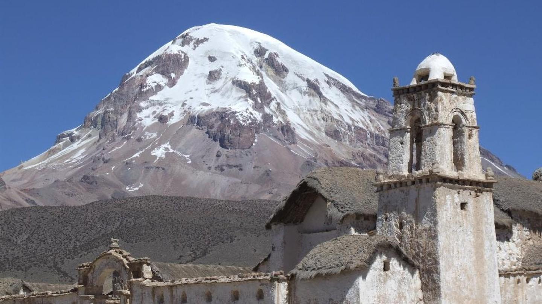 Sajama volcano and church
