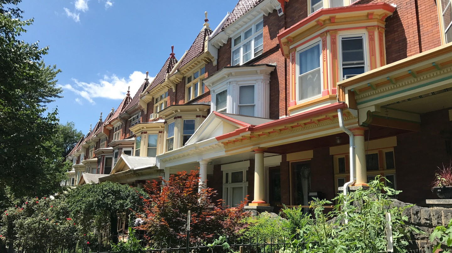 """Painted Ladies"" rowhouses on the 2600 block of N. Calvert Street, Baltimore"