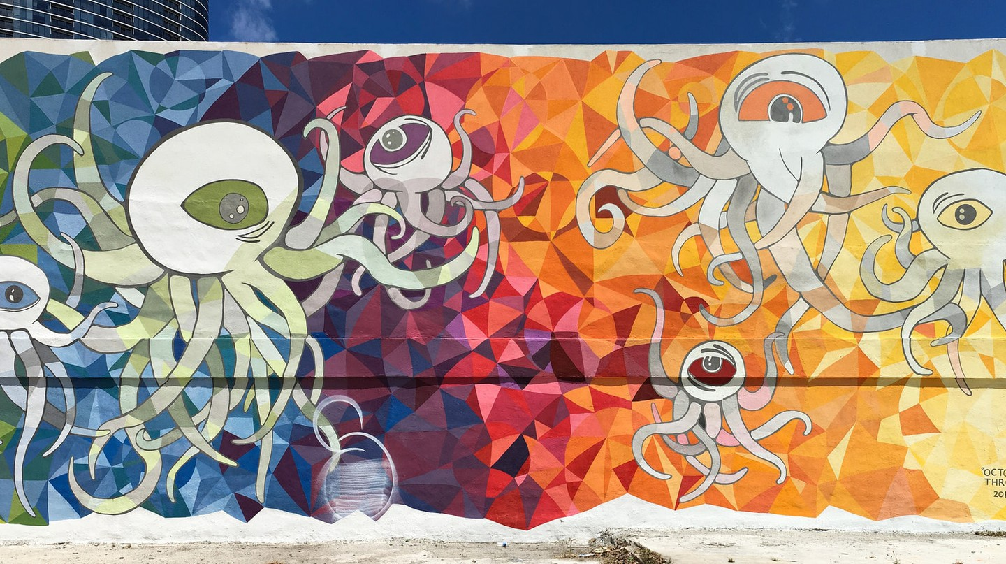 Octopus Flying Through Space by Boz Schurr