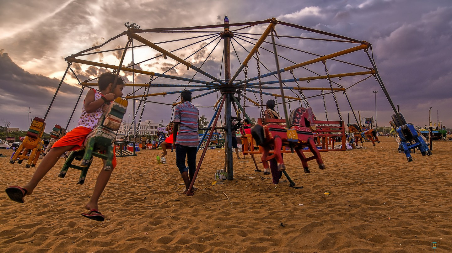 Children in Chennai enjoying a cloudy respite from the summer heat