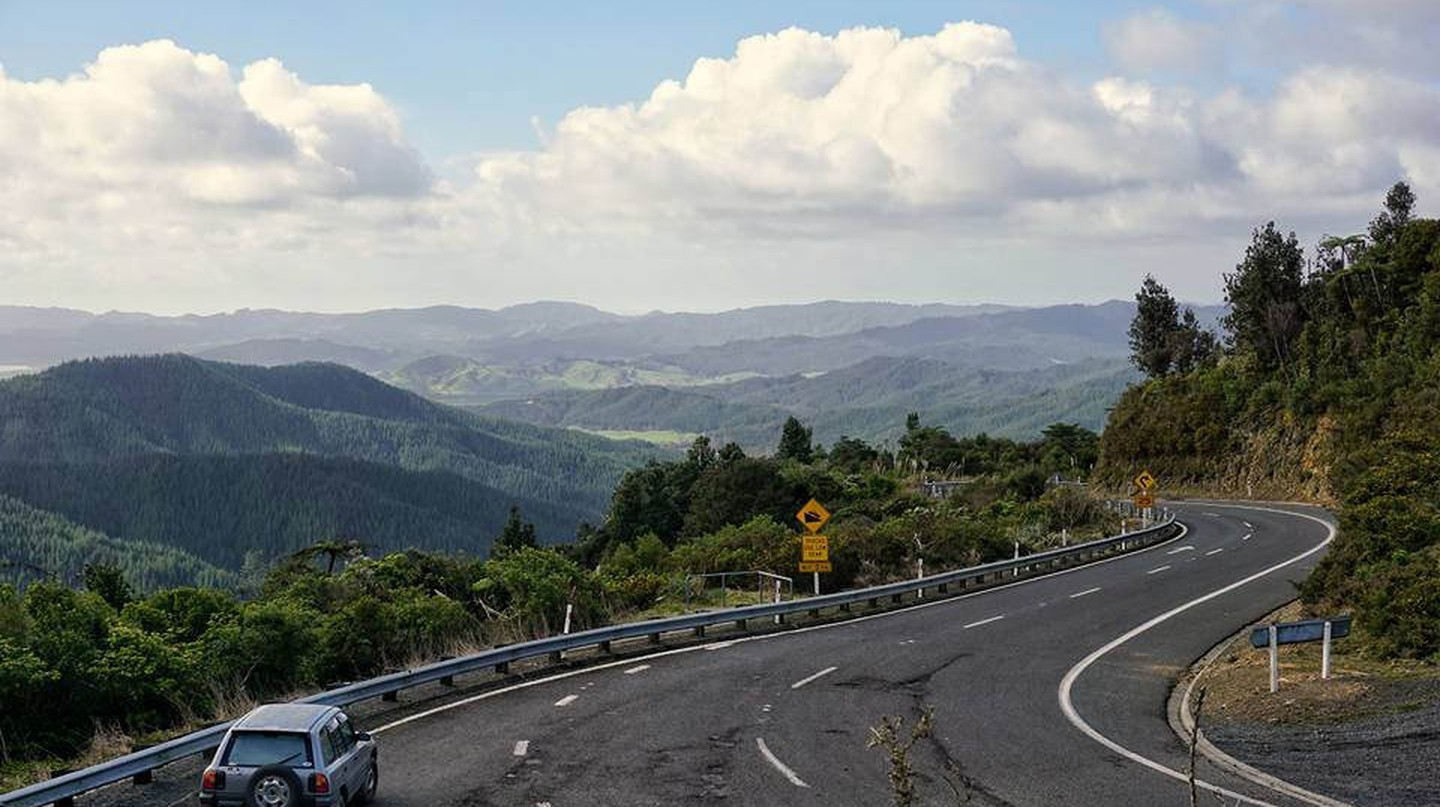 A car driving towards the Coromandel