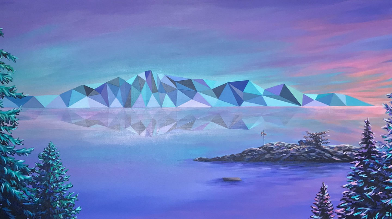 'Hawkeye Island', acrylic painting