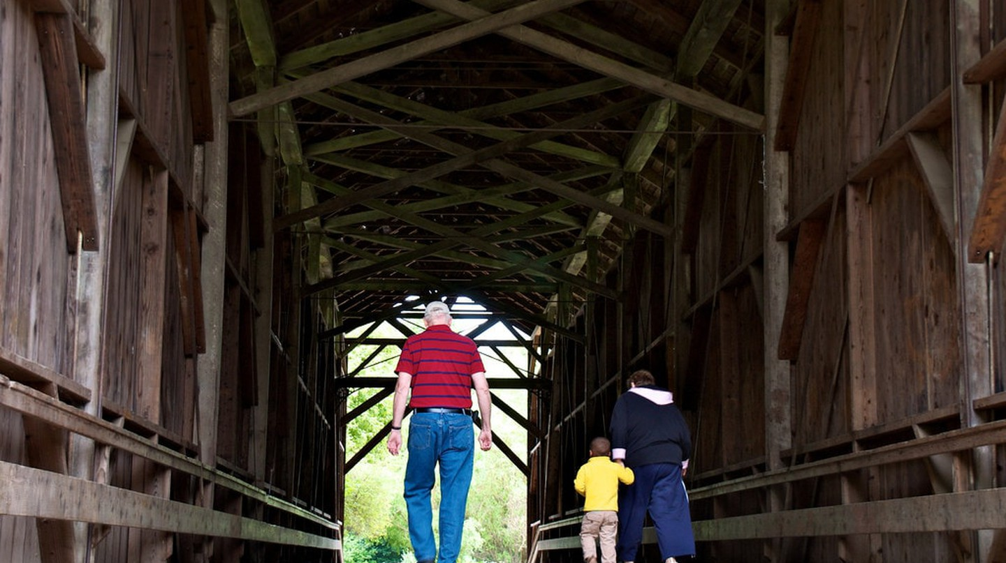 Walking inside the Felton Covered Bridge