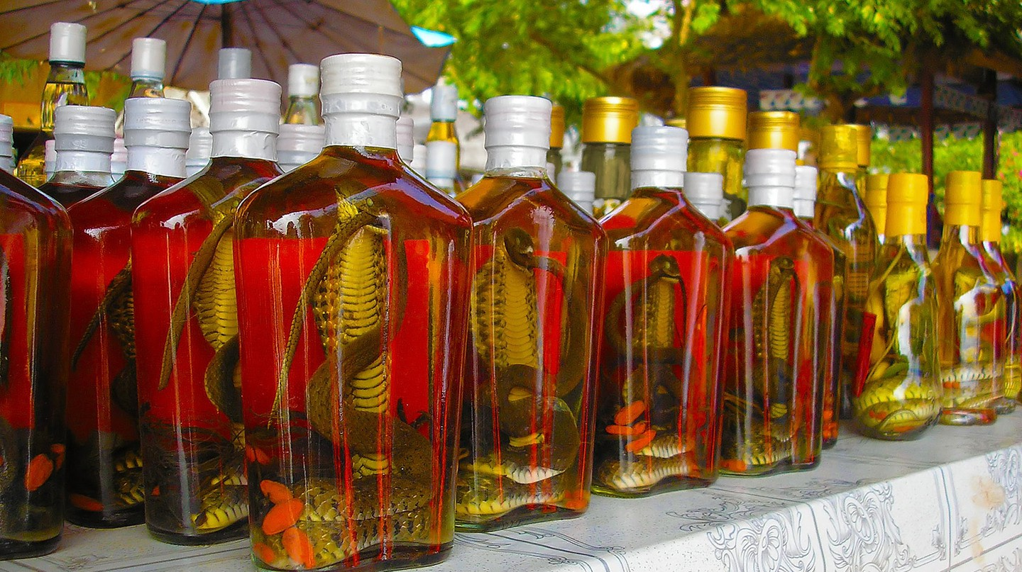 Snake whiskey for sale in Laos