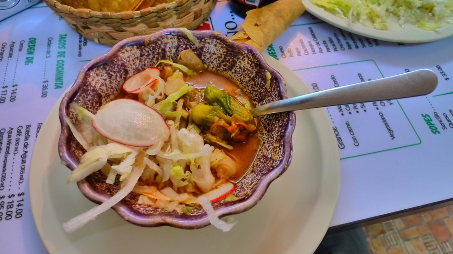 A bowl of traditional pozole