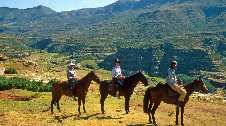 Pony trekking from Malealea Lodge