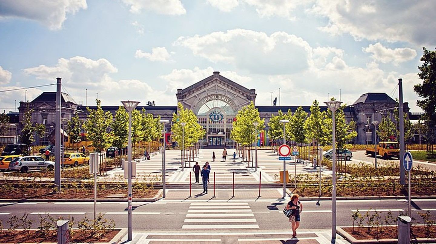 Charleroi-South railway station, the main train station serving Charleroi.