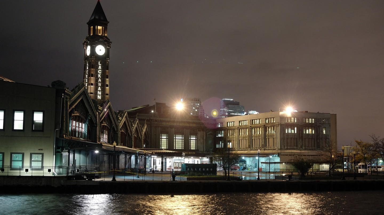 Hoboken Terminal at night.