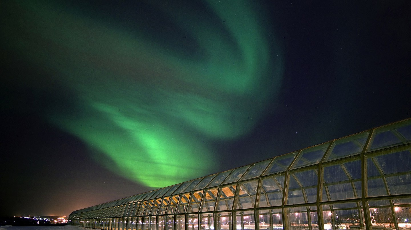 Northern Lights over the Arkitikum Museum.