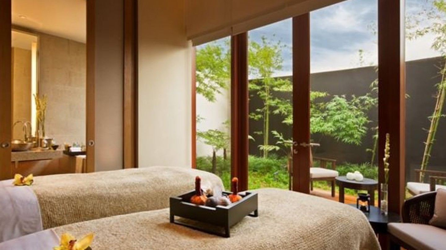 A private spa suite with a garden view.