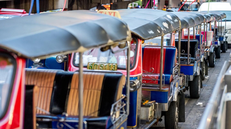 Tuk tuks are a popular form of transport in Cambodia