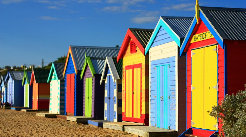 Brighton beach bathing boxes