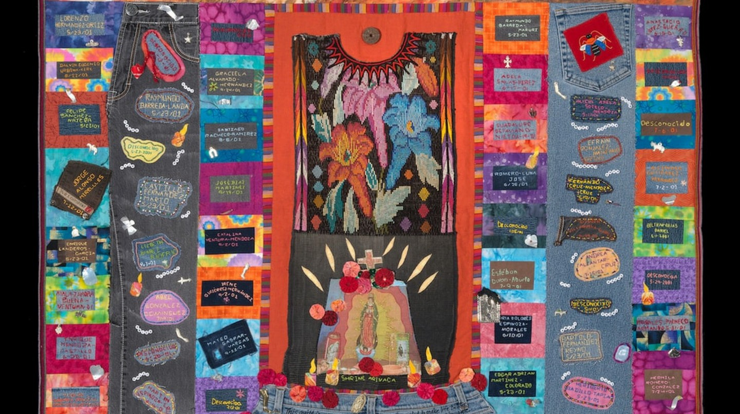 The TUCSON SECTOR 2000-2001 quilt, 136 deaths, made by Betty Kersting, with Nelda Bell, Judy Crawford, Lorene Goering, Judi Haines, Liz Hinds, Nancy Dean Kreger, Barbara Medina, Donna Ormerod and LuAnn Watkins of Santa Fe, New Mexico