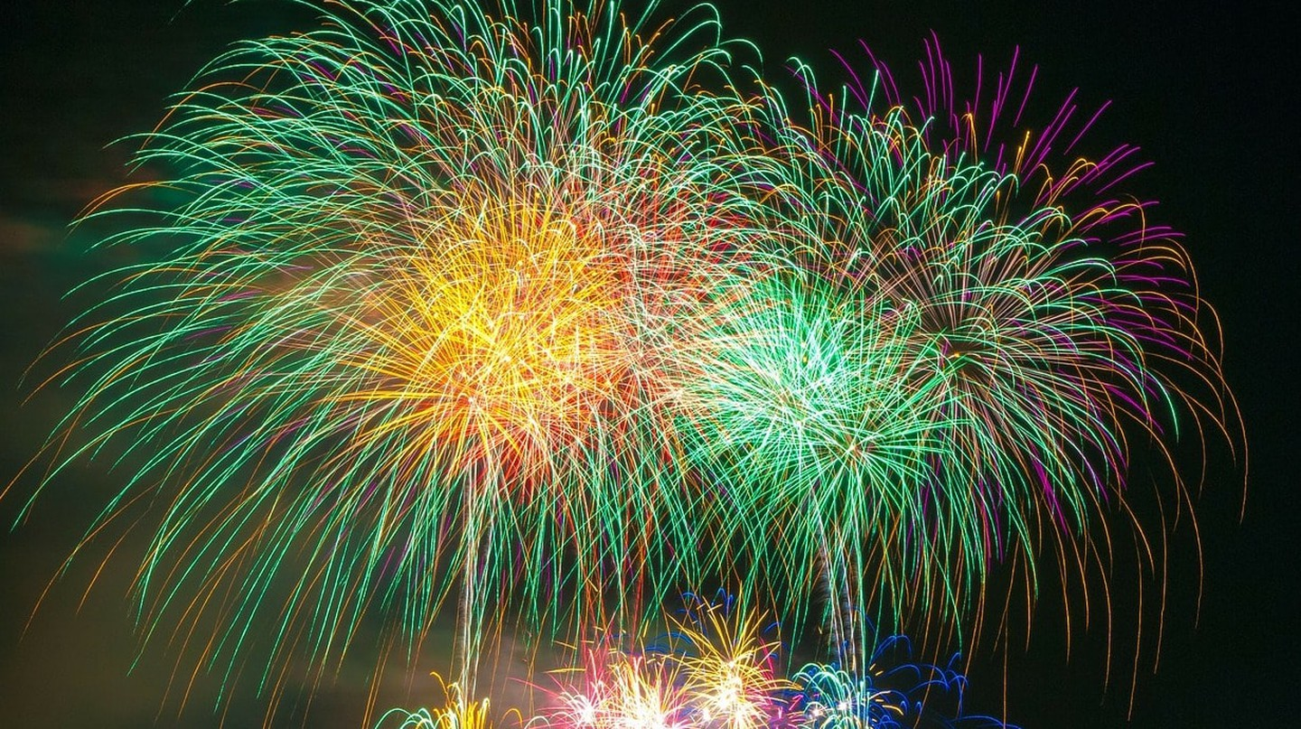 A colorful fireworks display
