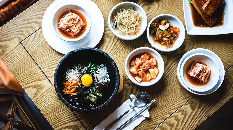 A Korean dinner spread.