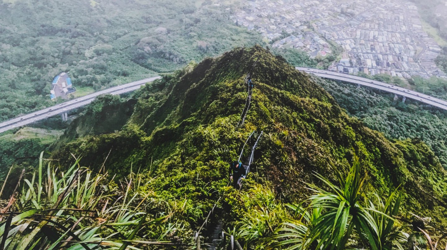 Walkers pictured on the Haiku Stairs