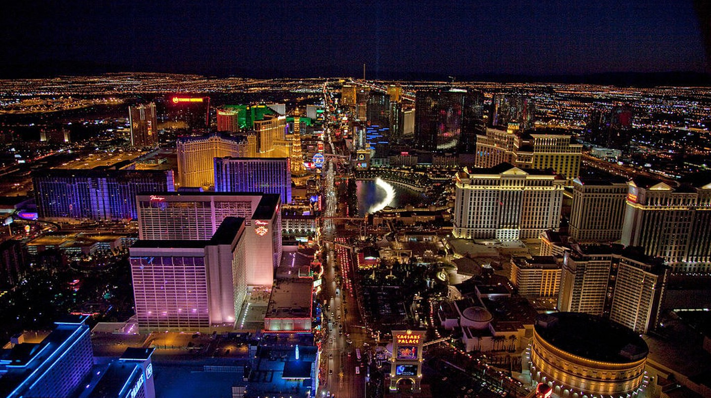 An aerial view of Las Vegas at night
