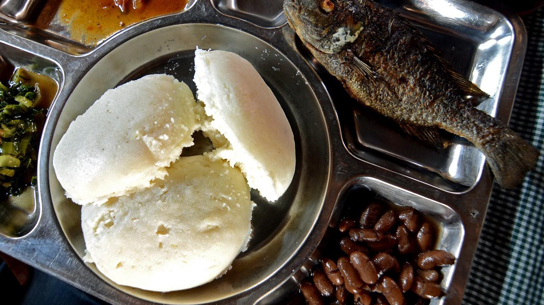 A traditional Malawian dish of nsima and chambo
