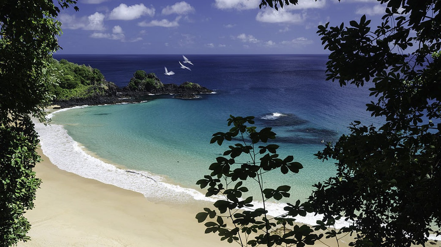 The view of Praia do Sancho, one of Fernando de Noronha's most beautiful beaches
