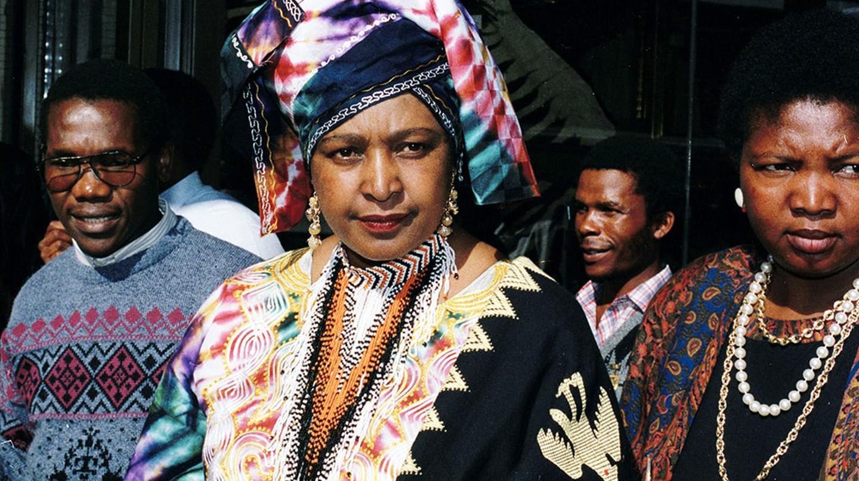 Winnie Mandela at the supreme court for Winnie's trial