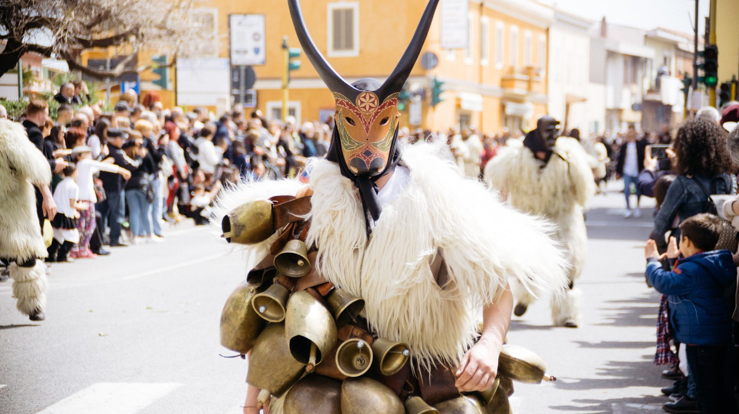 Pagan costumes at the Citrus Festival in Muravera, Sardinia