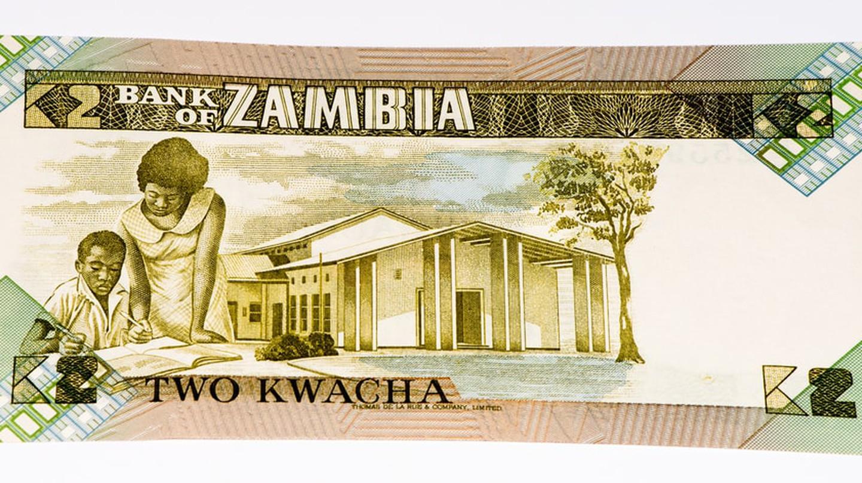 A vintage 2 Zambian kwacha bank note