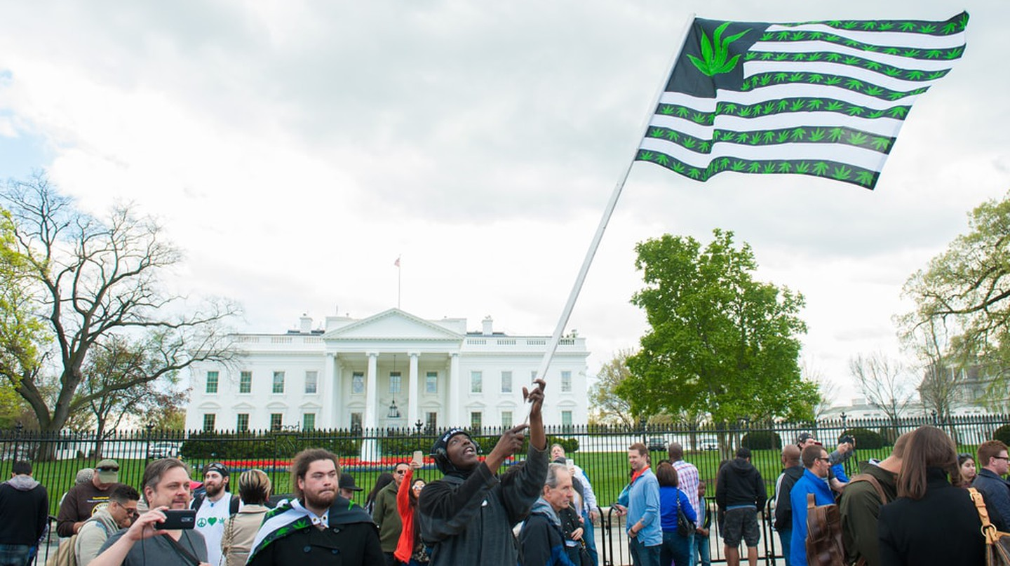 Protesters gather outside of the White House for legalization