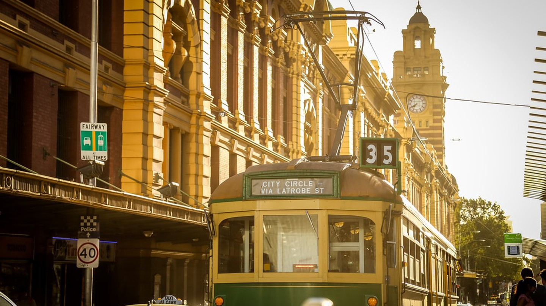 Running tram, Melbourne, Australia