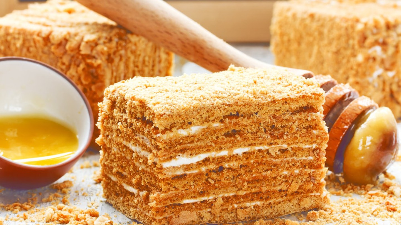 Slice of layered honey cake